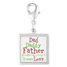 Dad,Daddy,Father Silver Square Charm