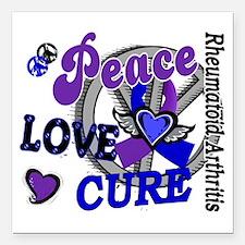 "RA Peace Love Cure 2 Square Car Magnet 3"" x 3"""