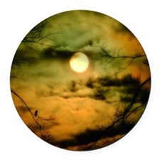 Moonlit Sky Round Car Magnet