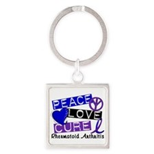 RA Peace Love Cure 1 Square Keychain