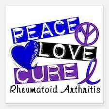 "RA Peace Love Cure 1 Square Car Magnet 3"" x 3"""