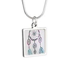 Watercolor Dreamcatcher Silver Square Necklace