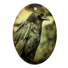 Vintage Crow Oval Ornament