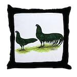 Black Sumatra Chickens Throw Pillow