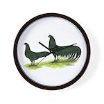 Black Sumatra Chickens Wall Clock