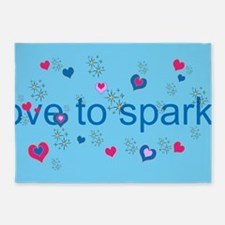 Cute Blue LOVE TO SPARKLE! 5'x7'Area Rug