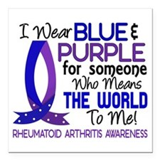 "RA Means World to Me 1 Square Car Magnet 3"" x 3"""