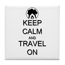 Keep Calm and Travel On Camping Tile Coaster