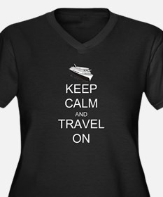 Keep Calm an Women's Plus Size V-Neck Dark T-Shirt