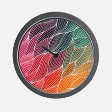 Multi Colored Waves Abstract Design Wall Clock