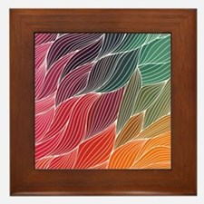 Multi Colored Waves Abstract Design Framed Tile
