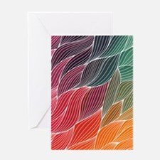 Multi Colored Waves Abstract Design Greeting Cards