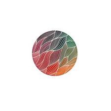 Multi Colored Waves Abstract Design Mini Button (1