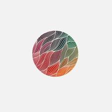 Multi Colored Waves Abstract Design Mini Button