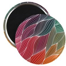 Multi Colored Waves Abstract Design Magnets