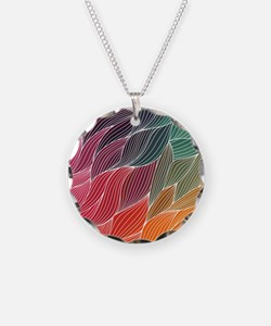 Multi Colored Waves Abstract Design Necklace