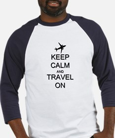 Keep Calm and Travel On Airplane Baseball Jersey