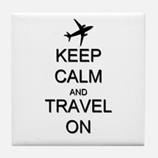Keep Calm and Travel On Airplane Tile Coaster