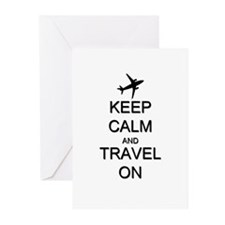 Keep Calm and Travel On Greeting Cards (Pk of 10)