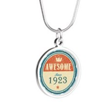 Awesome Since 1923 Silver Round Necklace