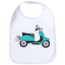 Cute Retro Scooter Blue Bib