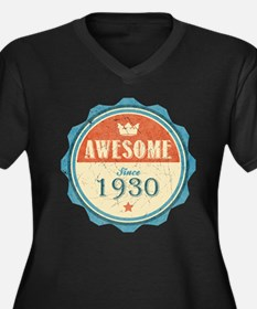 Awesome Since 1930 Women's Dark Plus Size V-Neck T
