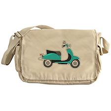 Cute Retro Scooter Blue Messenger Bag