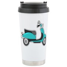 Cute Retro Scooter Blue Travel Mug