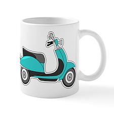 Cute Retro Scooter Blue Mugs