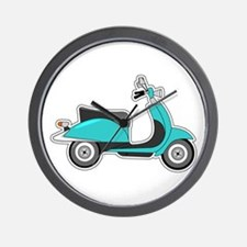 Cute Retro Scooter Blue Wall Clock