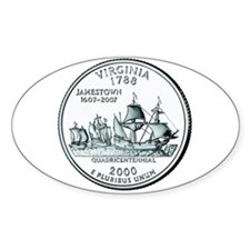 Virginia State Quarter Oval Decal