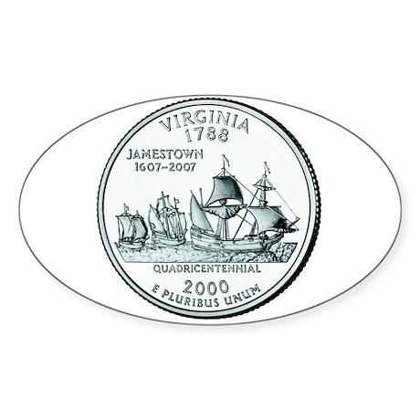 Virginia State Quarter Oval Sticker