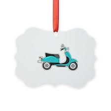 Cute Retro Scooter Blue Ornament