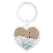 LETTERS IN SAND L Heart Keychain