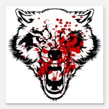 "Bloody Wolf Square Car Magnet 3"" x 3"""