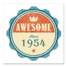 "Awesome Since 1954 Square Car Magnet 3"" x 3"""