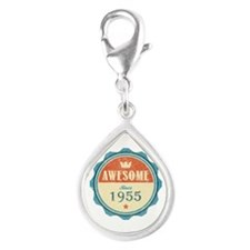 Awesome Since 1955 Silver Teardrop Charm