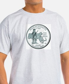 Massachusetts State Quarter Ash Grey T-Shirt