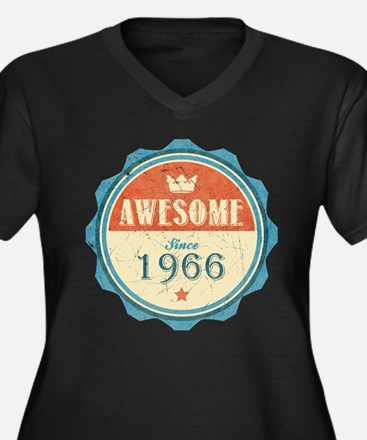 Awesome Since 1966 Women's Dark Plus Size V-Neck T