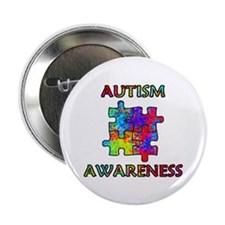 "Autism Awareness Colorful Puzzle Pieces 2.25"" Butt"