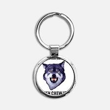 Courage Wolf Round Keychain