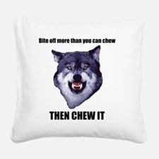 Courage Wolf Square Canvas Pillow