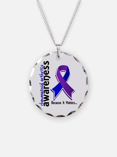 RA Awareness 5 Necklace Circle Charm