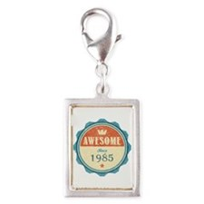 Awesome Since 1985 Silver Portrait Charm