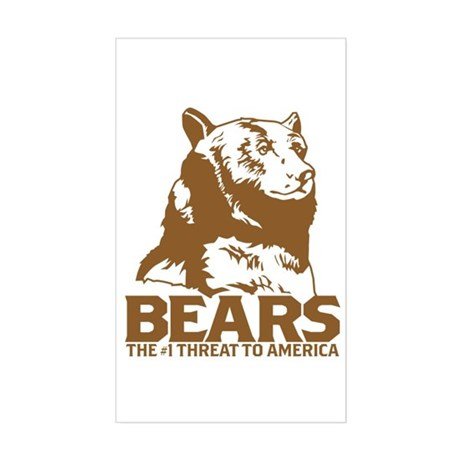 Bears: The #1 Threat to America Sticker (Rectangul