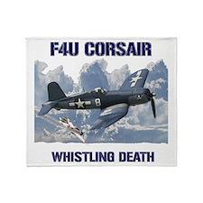 F4U Corsair Whistling Death Throw Blanket