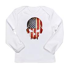 American Flag Skull Long Sleeve T-Shirt
