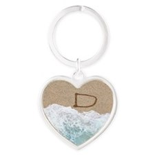 LETTERS IN SAND D Heart Keychain