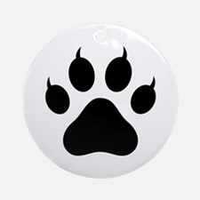 Tiger's Paw Silhouette  Round Ornament