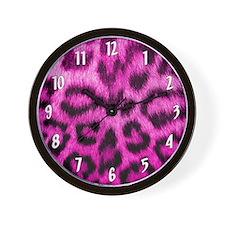 Pink Leopard Print Wall Clock